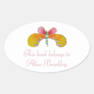 Buttercupfjärilsbokägarmärke Ovalt Klistermärke