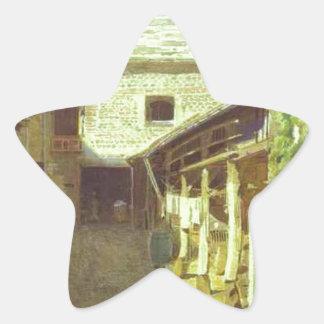By-Gård-i-Frankriken av Ivan Kramskoy Stjärnformat Klistermärke