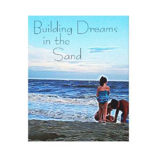 Bygga drömmar i sanden - personlig canvastryck