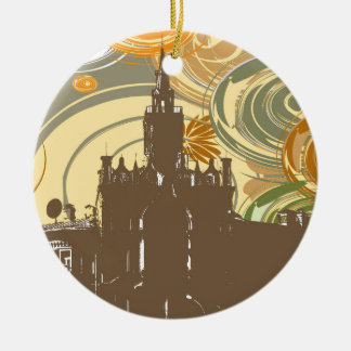 Bygga på abstrakt bakgrund julgransprydnad keramik
