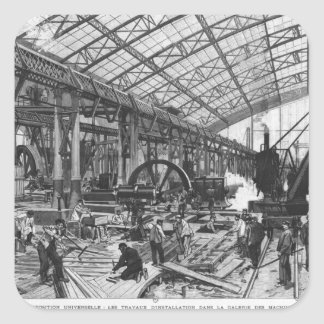 Bygga platsen av de Galerie des-maskinerna Fyrkantigt Klistermärke