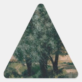 Bygga platsen med pilar - Adolph Menzel 1846 Triangelformat Klistermärke