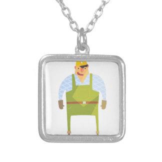 Byggmästare i hård hatt på konstruktionsplats silverpläterat halsband
