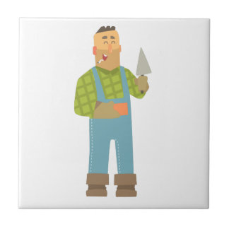 Byggmästare med tegelsten och trowelen på kakelplatta