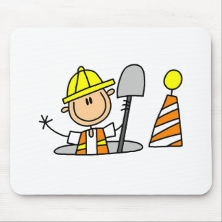 Byggnadsarbetare i manholen Mousepad Musmatta