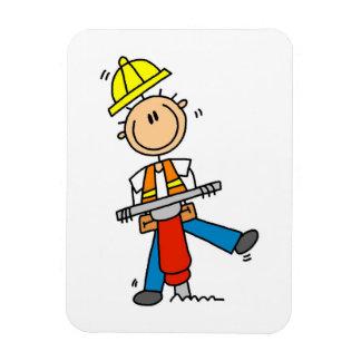 Byggnadsarbetaren med jacken bultar gåvor magnet