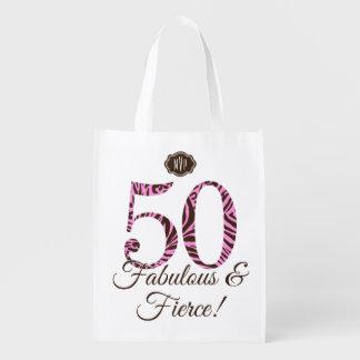 Bylte för 50th födelsedag för Monogram sagolikt & Återanvändbar Påse