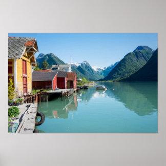 Byn av Fjærland, fjord i norgeaffisch Poster