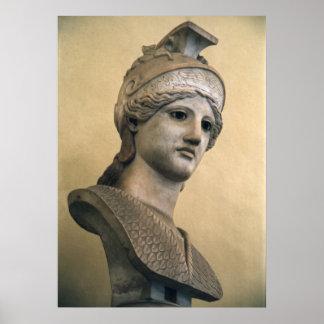 Byst av gudinnan Athena Poster
