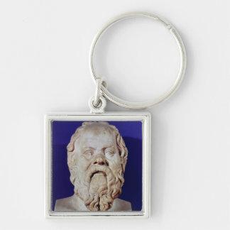 Byst av Socrates Fyrkantig Silverfärgad Nyckelring