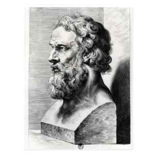 Bysten av Plato inristade vid Lucas Emil Vykort