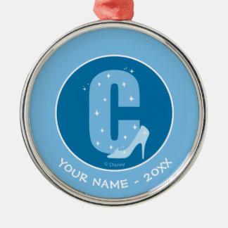 C är för Cinderella som   tillfogar ditt namn Julgransprydnad Metall