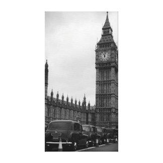 Cabs för stora Ben en-taxi i svartvit kanfas Canvastryck