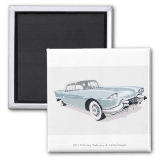 Cadillac 1957 med silhouetten av chaufförinsida magnet