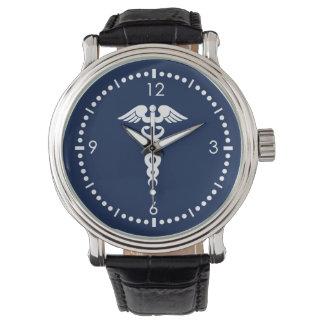 Caduceus på blåttbakgrund armbandsur