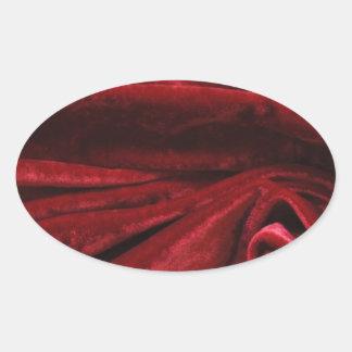 Cafe för tyg för art décoburgundy sammet chic ovalt klistermärke