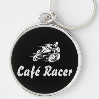 Café Racer Rund Silverfärgad Nyckelring