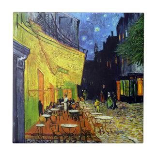 Cafeterrass på natten av Vincent Van Gogh Liten Kakelplatta