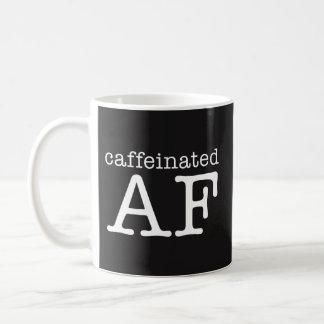 Caffeinated AF rolig kaffemugg - koffeinknarkare Vit Mugg
