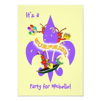 Cajun Kräftor Fleur de Lis Förvåna födelsedag 12,7 X 17,8 Cm Inbjudningskort