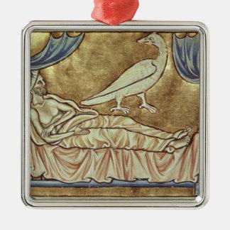 Caladrius fågel som är beryktad att förutsäga julgransprydnad metall