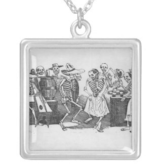 Calavera du jarabe d'outretombe silverpläterat halsband