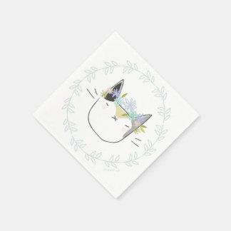 Calicokatt med blommakronan pappersservett