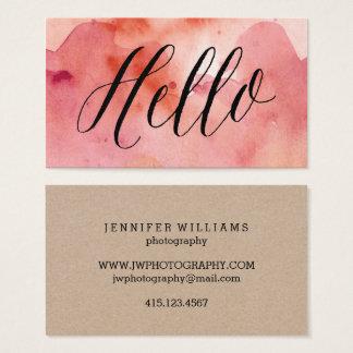 Calligraphy + Rosa visitkortar för vattenfärg Visitkort