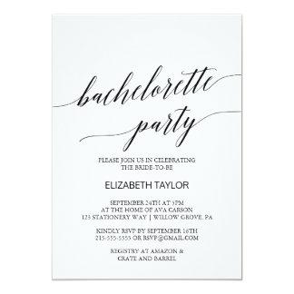 CalligraphyBachelorette för elegant svart party 12,7 X 17,8 Cm Inbjudningskort