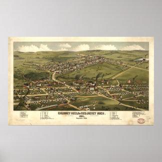 Calumet Michigan 1881 antika panorama- karta Poster