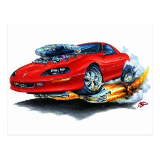 Camaro röd bil 1993-97 vykort