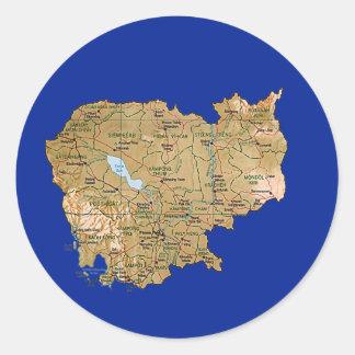 Cambodja kartaklistermärke runt klistermärke