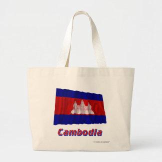 Cambodja som vinkar flagga med namn tote bag