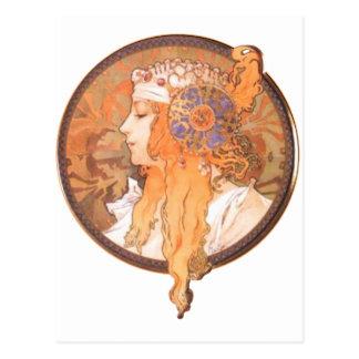 Cameo för porträtt för medalion för Mucha Vykort