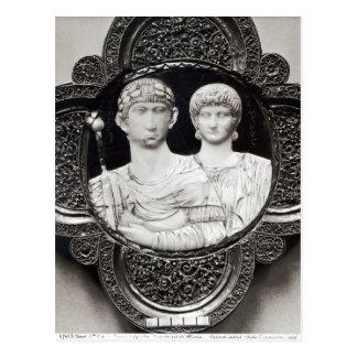 Cameo som visar kejsaren Honorius och hans fru Vykort