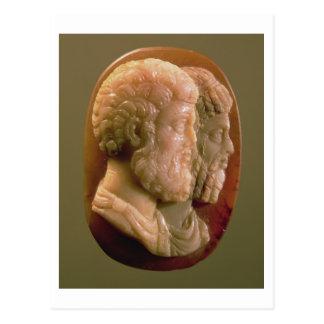 Cameo som visar Marcus Aurelius (121-180) och Luci Vykort