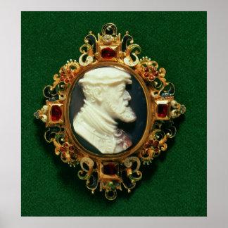 Cameo uthärda porträtt av Charles mig av Spanien Poster