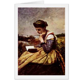 Camille läsning bredvid sjön hälsningskort