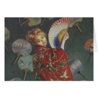 Camille med den japanska kimonoen och fläkten hälsningskort