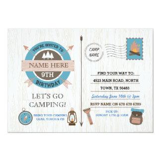 CAMPA för läger för FÖDELSEDAGSFESTpojkar ut 12,7 X 17,8 Cm Inbjudningskort