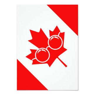 Canad flagga med exponeringsglas på lönn 12,7 x 17,8 cm inbjudningskort