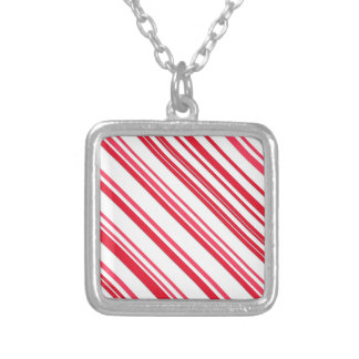 Candy cane kvadrerar silverpläterat halsband