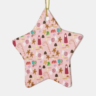 Candy cane och choklader på rosor julgransprydnad keramik