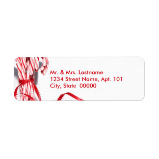 Candy caneadressetiketter returadress etikett
