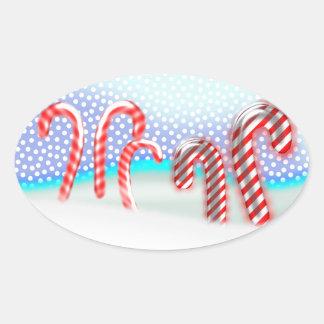 Candy caneskogjul ovalt klistermärke