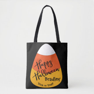Candy corn för Halloween anpassningsbarnamn Tygkasse