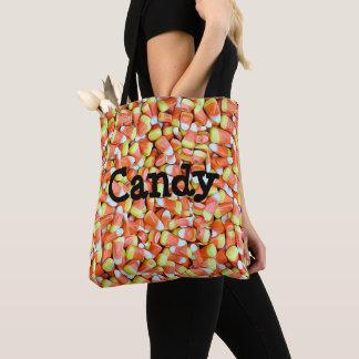 Candy corn- och pumpagodisbus eller godis hänger tygkasse