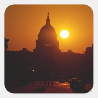 Capitol Hill solnedgång Fyrkantigt Klistermärke