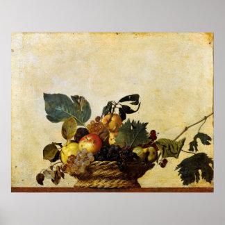 Caravaggios basket av frukt poster
