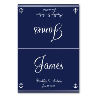 Cards det nautiska bröllopbord för blått placering bordsnummer